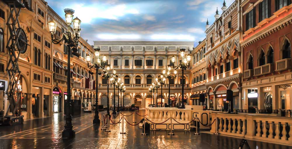 Inside the grand canal shopping area of The Venetian Macau hotel Cost of Travel in China
