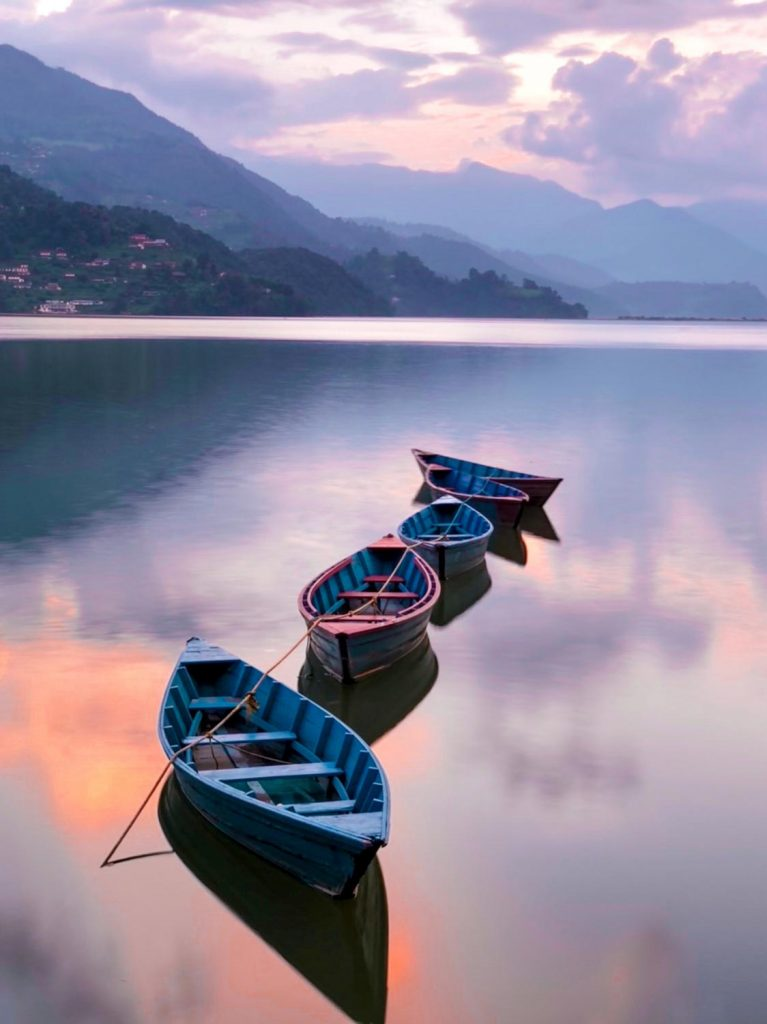 Nepal sunset over the lake Cheap country to visit