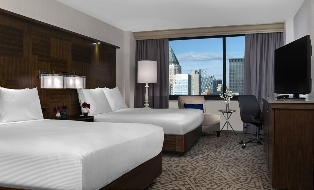 A double room at the Hilton Times Square NYC Hotel