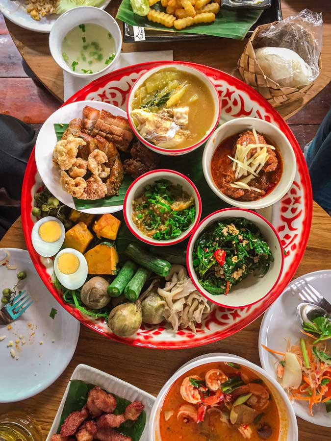 A plate of Thai food in thailand