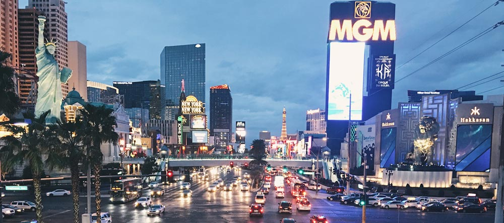 The Las Vegas strip at night with traffic