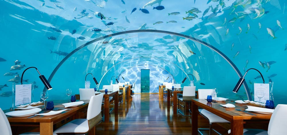 Conrad Maldives, restaurant under the sea Most unique hotels in the world