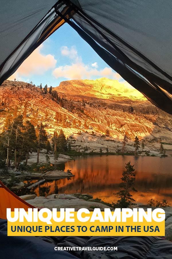 Unique camping sites