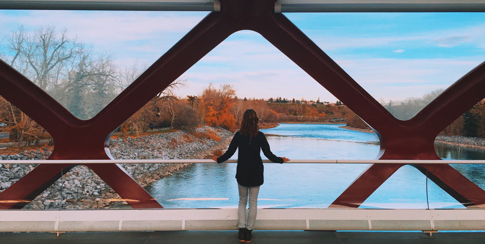 Woman looking out at Calgary in Canada