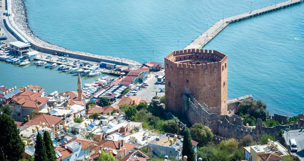 The red tower in Alanya, Turkey