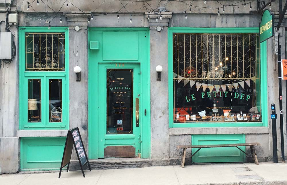 A bright coloured shop in Montreal