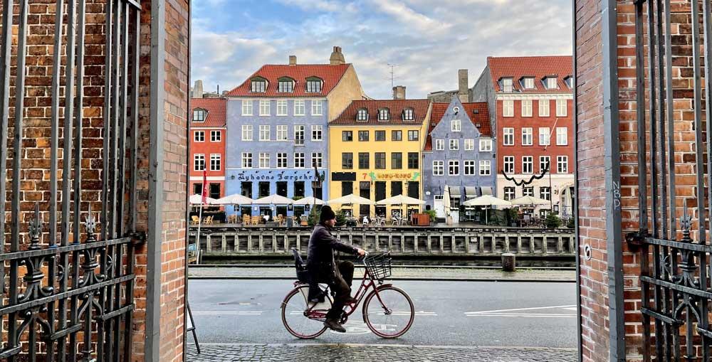 travelling through Copenhagen Denmark on a bike
