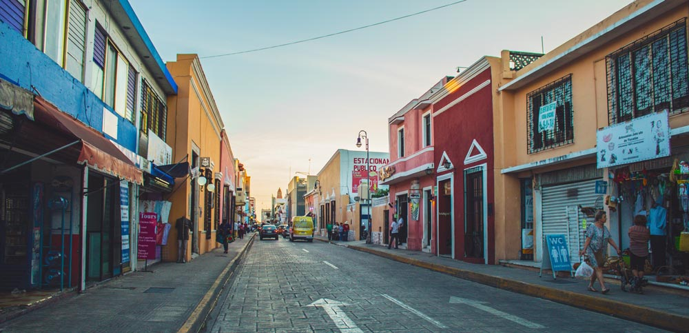 A colourful street in Merida Mexico