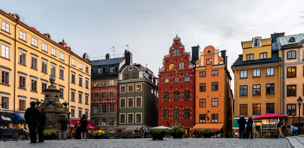 colourful buildings in Stockholm city centre