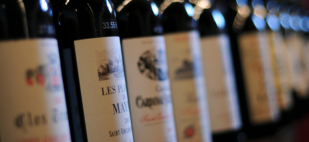 A row of French wine in France