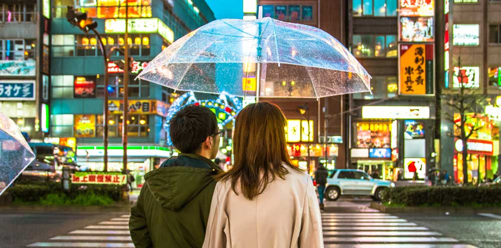 A couple in Tokyo Japan